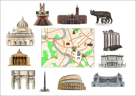 Map of Rome with hallmarks as marked on it as separated. Vector