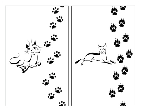 dog track: Cat and dog black and white illustration with their footsteps