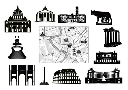 Black-and-white map of Rome with hallmarks as marked on it as separated. Vector