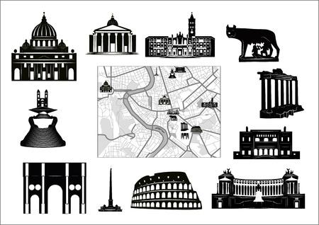 rome italie: Noir et blanc carte de Rome avec caract�ristiques tel qu'indiqu� sur comme s�par�s. Illustration