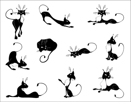 stretch: Black and white figures of cats, expressing different emotions.