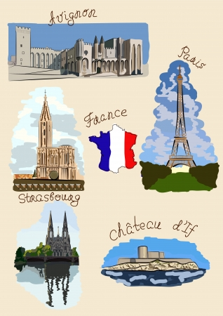 Sights of France drawn in watercolours style. Stock Vector - 16662351