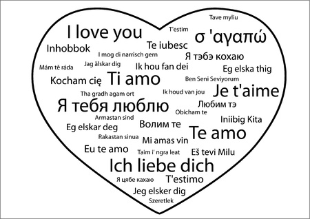 i love you: Heart-shaped silhouette with phrase