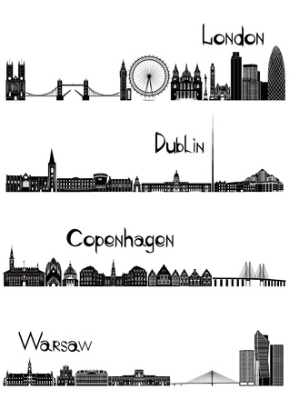 Main sights of four european capitals - London, Dublin, Warsaw and Copenhagen, drawn in black and white style.  Illustration