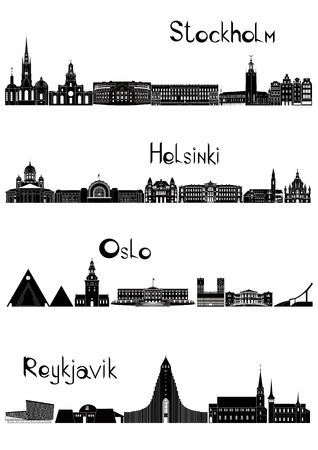 iceland: Main sights of four european capitals - Stockholm, Oslo, Reykjavik and Helsinki, drawn in black and white style.