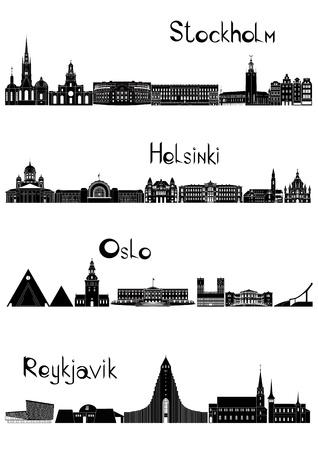Le principali attrazioni di quattro capitali europee - Stoccolma, Oslo, Helsinki, Reykjavik e disegnato in stile bianco e nero.