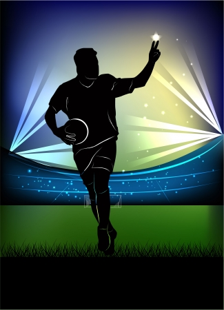 football silhouette: illustration of football player silhouette with hand in victory sign over football stadium background.