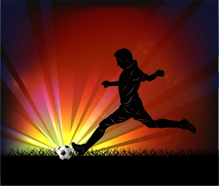 Vector illustration of football player silhouette kicking the ball over football stadium background. Stock Vector - 17000073