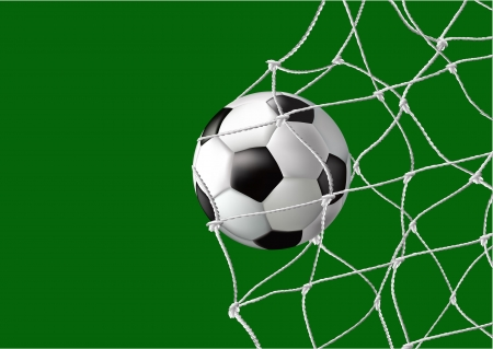 football ball in the back of the net Vector