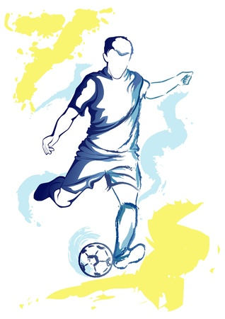 kick ball: football player that is going to kick the ball. Illustration