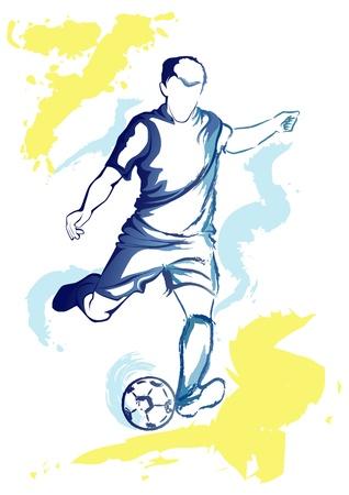 piłkarz, który ma kopać piłkę. Ilustracje wektorowe