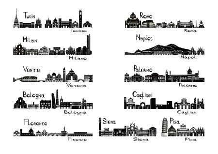 イタリア ・ トリノ; の 11 の都市のシルエット signtsミラノ;ベニス;ボローニャ;フィレンツェ ローマ;ナポリ;パレルモ;カリアリ;シエナ;ピサ  イラスト・ベクター素材