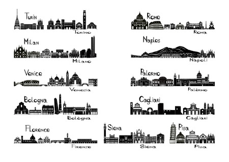 Silhouet signts van 11 steden van Italië - Turijn; Milan; Venetië; Bologna; Florence Rome; Napels; Palermo; Cagliari; Siena; Pisa Stock Illustratie