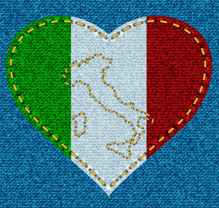 sewed: Jeans cloth with sewed heart with italian tricolor and embroidered Appenines silhouette  Vector illustration