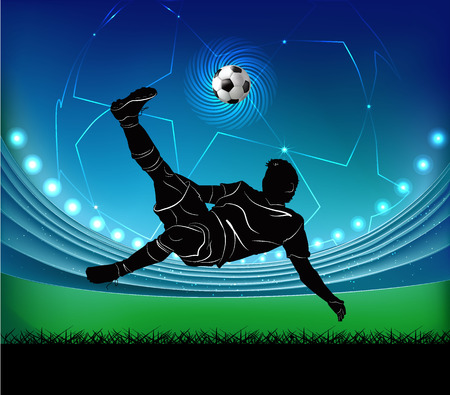world player: Vector illustration of football player kicking the ball in jump silhouette over football stadium background