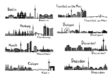 illustration of silhouettes of 8 cities of Germany - Berlin, Frankfort on the Main, Hamburg, Stuttgart, Dusseldorf, Munich, Dresden, Cologne Stock Illustratie