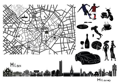 Kaart van Milaan met bezienswaardigheden op. Omgeven door symbolen zoals voetbal, pasta, koffie, wijn, glas, pizza, mode, auto.