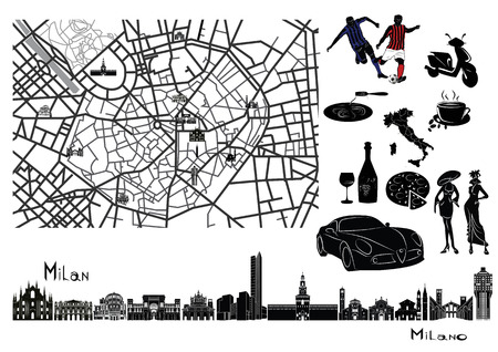 Map of Milan with sights on it. Surrounded by symbols like football, pasta, coffee, wine, glass, pizza, fashion, car.