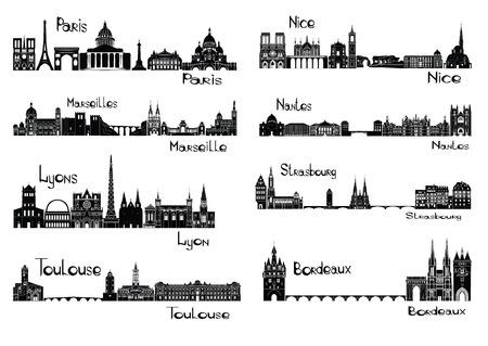 francia: Ilustración del vector de las siluetas de las capitales de Francia - París, Marsella, Lyon, Toulouse, Niza, Nantes, Estrasburgo, Burdeos Vectores