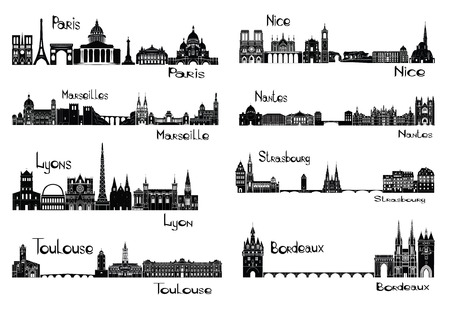 Vector illustration of silhouettes of capitals of France - Paris, Marseilles, Lyons, Toulouse, Nice,  Nantes, Strasbourg, Bordeaux Illusztráció