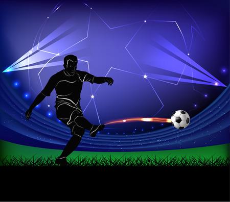 Vector illustration of football player silhouette kicking the ball over football stadium background. Illustration