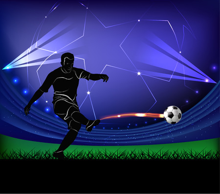 Vector illustration of football player silhouette kicking the ball over football stadium background. Ilustracja