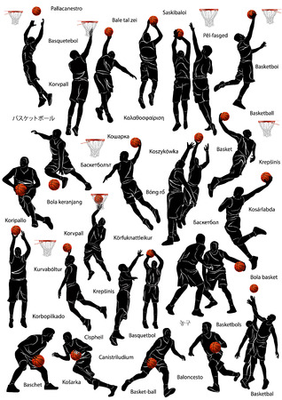Silhouette of basketball players in action with name of the game written in different languages.
