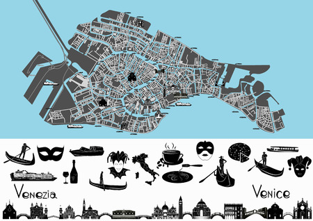 venice canal: Map ov Venice with illustrations of main landmark and symbols of it.