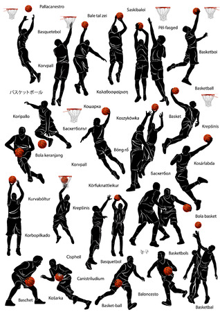 Silhouet van basketbal spelers in actie met de naam van het spel geschreven in verschillende talen.