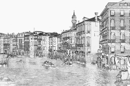 pencil drawings: Venice, Grand Channel. Illustration in pansin drawing stile.