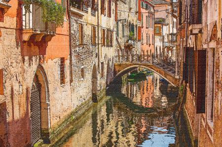 venice: Watercolor stylized photo of Venice, side channel