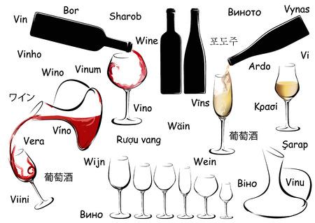 Set de vino con la palabra vino en diferentes idiomas Foto de archivo - 46043646