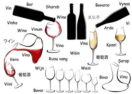 Wine set with word Wine in different languages