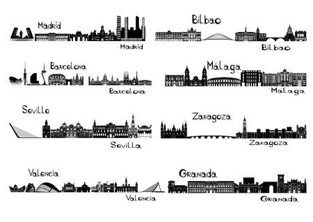 Silhouette signts of 8 cities of Spain - Madrid, Barcelona, Seville, Valencia, Bilbao, Malaga, Zaragoza, Granada Vettoriali