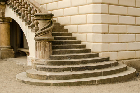 stone stairs: Staircase of a castle in Prague
