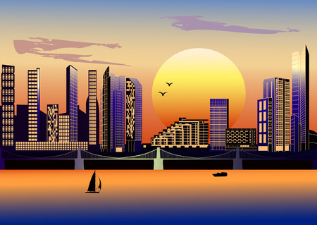 brige: City with modern houses and brige at sunset