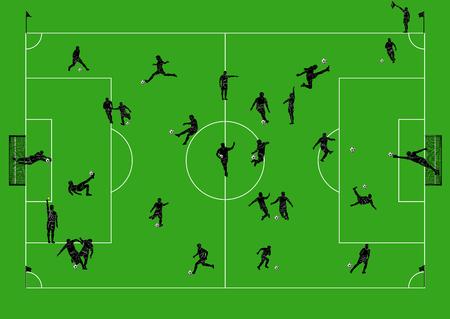 arbitros: Campo de fútbol con los jugadores y árbitros.