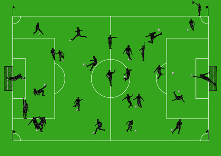referees: Football field with players and referees.