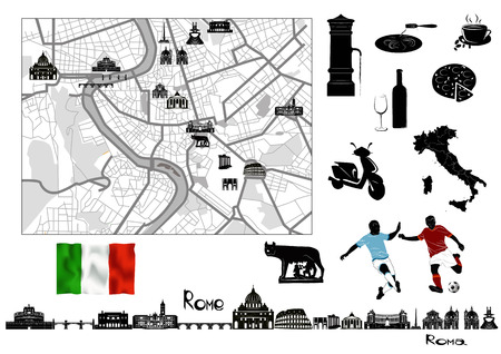 Rome. Black-and-white map and hallmarks, italian flag and symbols of Rome