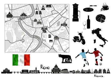 Rome. Zwart-wit kaart en stempels, Italiaanse vlag en symbolen van Rome