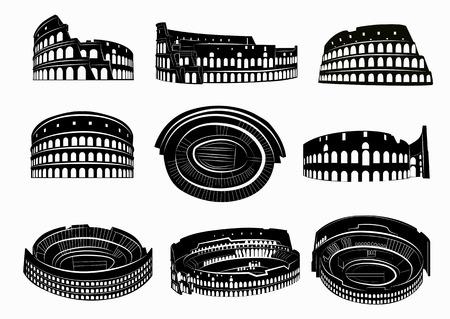 Diferentes vistas de Coliseo romano. Siluetas de Coliseo. Roma, Italia.