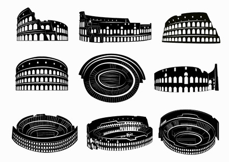 Different views of roman Colosseum. Silhouettes of Colosseum. Rome, Italy.