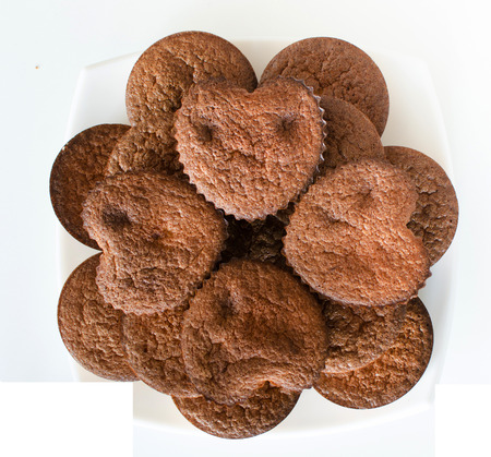 Cakes in form the heart. View from above.