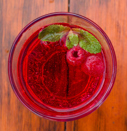 Lemonade with raspberries and mint. View from above Stock Photo