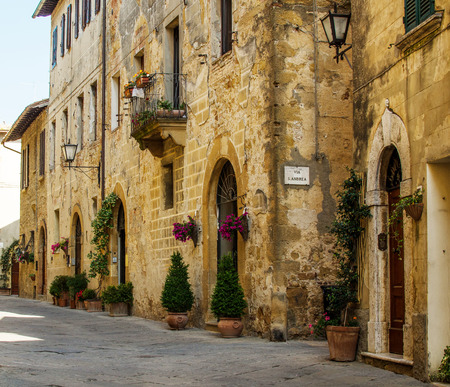 A medieval street of Pienza, Italy.