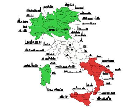turin: Map of Italy with silhouettes of italian cities ( Turin; Milan; Venice; Bologna; Florence; Rome; Naples; Palermo; Cagliari; Siena; Pisa; Verona; Bari; Genova; Bergamo, Aosta. Trento, Bolzano, Grosseto, Reggio-di-Calabria, Messina, Piacenza; Udine, Lecce,