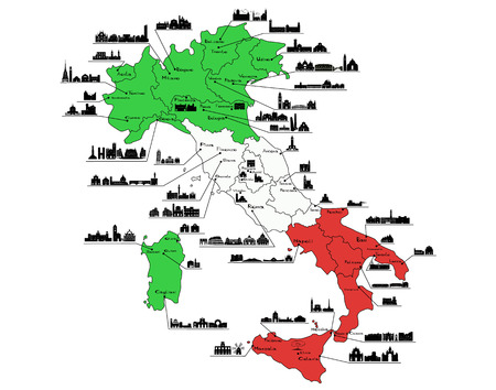 Map Of Italy With Silhouettes Of Italian Cities Turin Milan