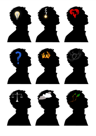 afflatus: nine illustrations of different mind processes that come to ones head Illustration