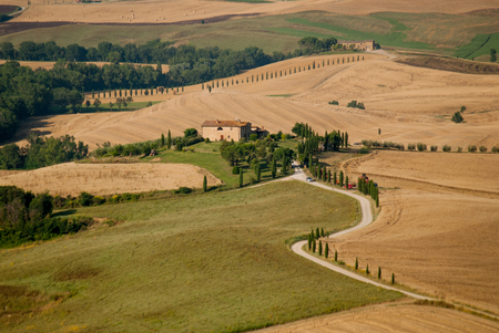 Road to the farm among tuscany hills