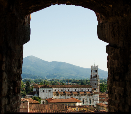 Lucca Cathedral, view through an arc Stock Photo